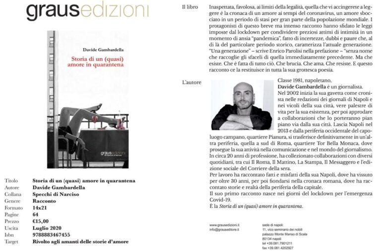 """""""Storia di un (quasi) amore in quarantena"""", il primo libro di Gambardella"""